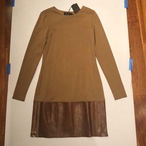 Ted Baker Nalaa leather trim dress 0 NWT